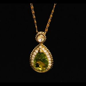 Crown Trifari Green and Clear Crystal Pendant